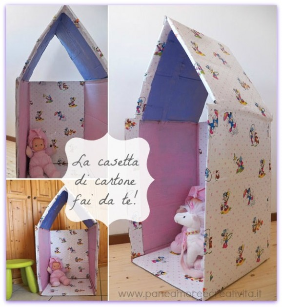 How to make a cardboard play house Recycled Crafts