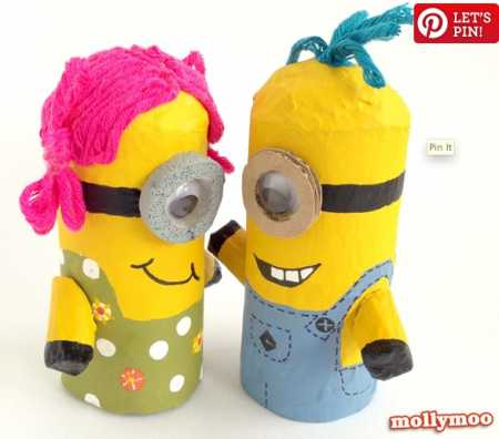 How to make recycled paper tube minions