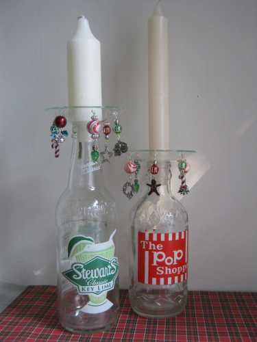 How to make recycled soda bottle candle sticks with beaded - Recycled soda bottle crafts ...