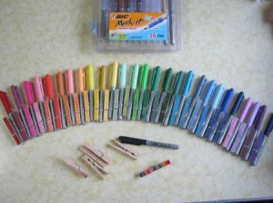 BIC-marker-clothes-pin-ephemera-organizer