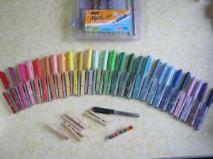 BIC-marker-clothes-pin-ephemera-organizer