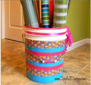 duct tape embellished bucket storage