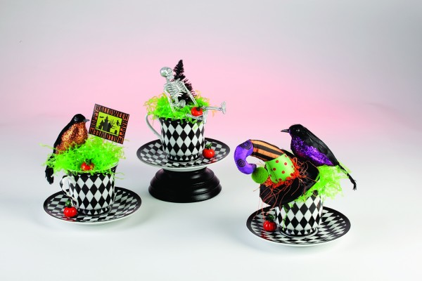 recycled cup Halloween decorations