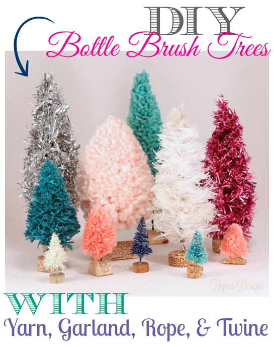 How to make yarn and twine bottle brush trees