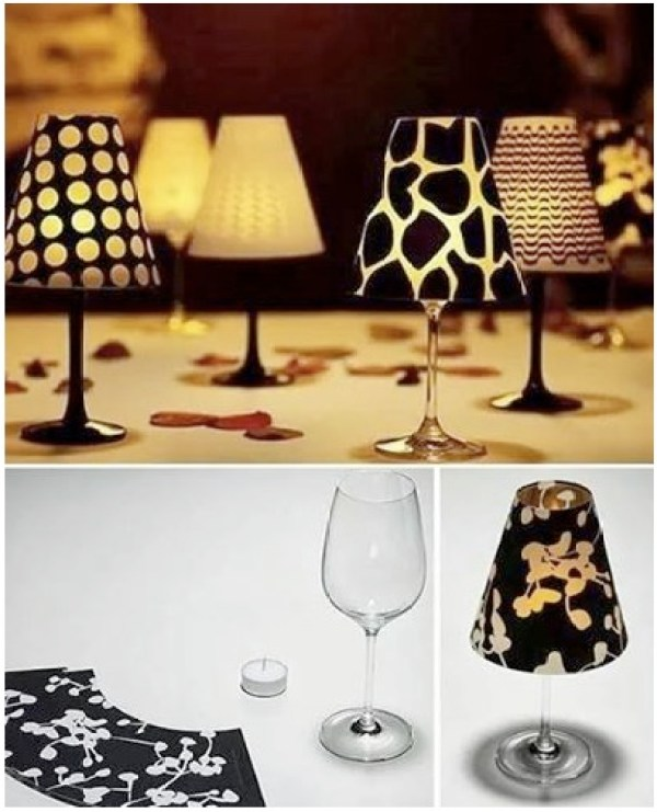 wine glass votive lamp shade