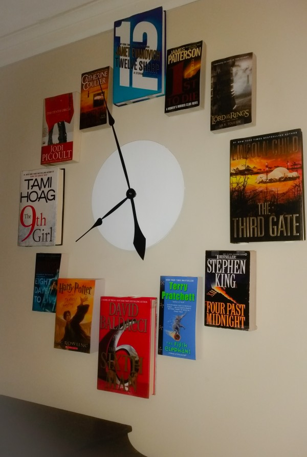 clock made of books