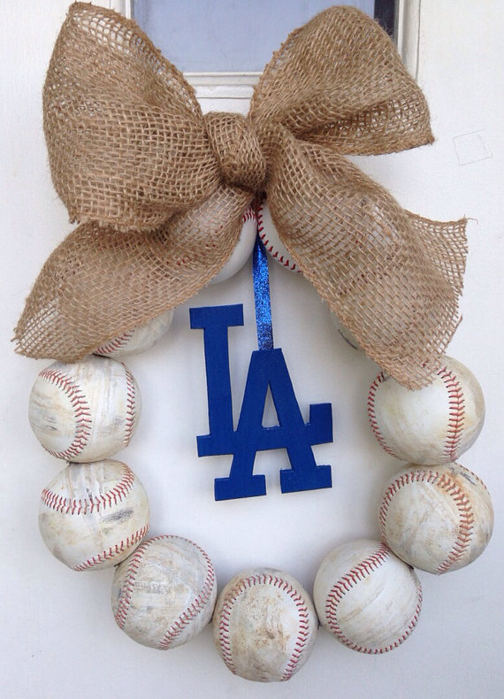recycled baseball wreath
