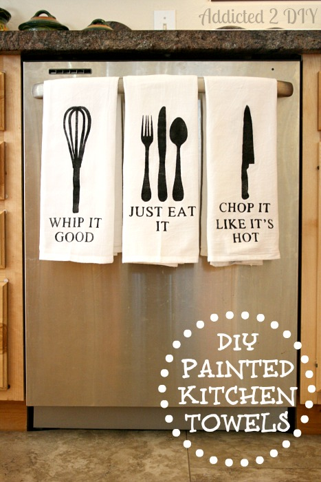 Charmant DIY Painted Kitchen Towels 3