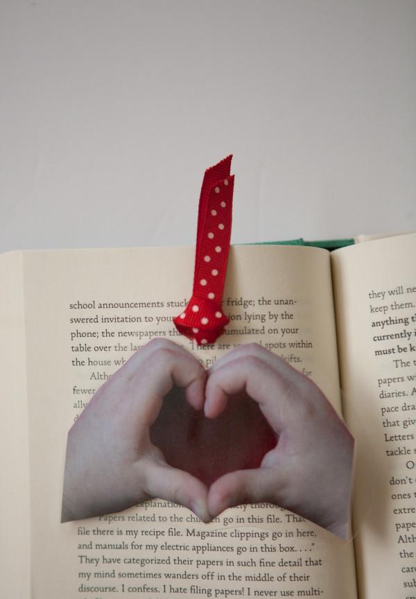 heart hand book mark