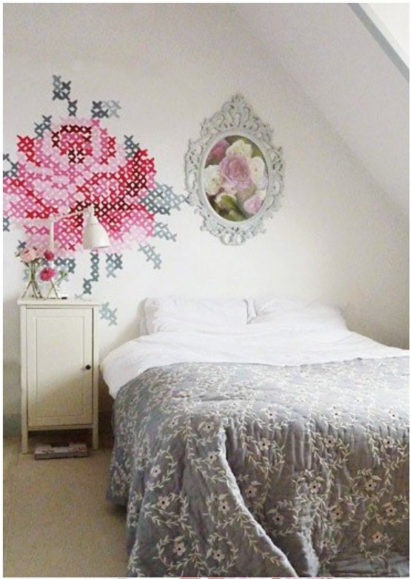 Vintage how to paint giant cross stitch on wall