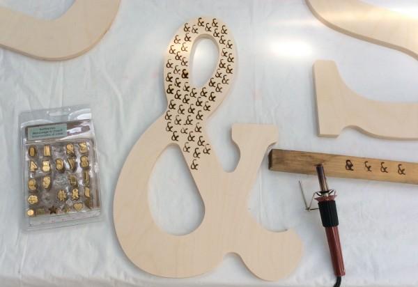 wood burn letters in ombre pattern