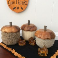 How to make giant recycled sweater acorns