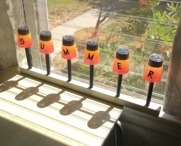 Rainbow painted solar lights plastic cups