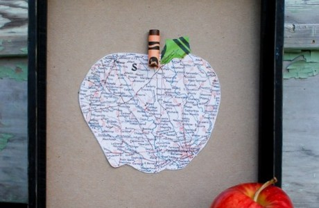 Recycled map and crayon teacher gift