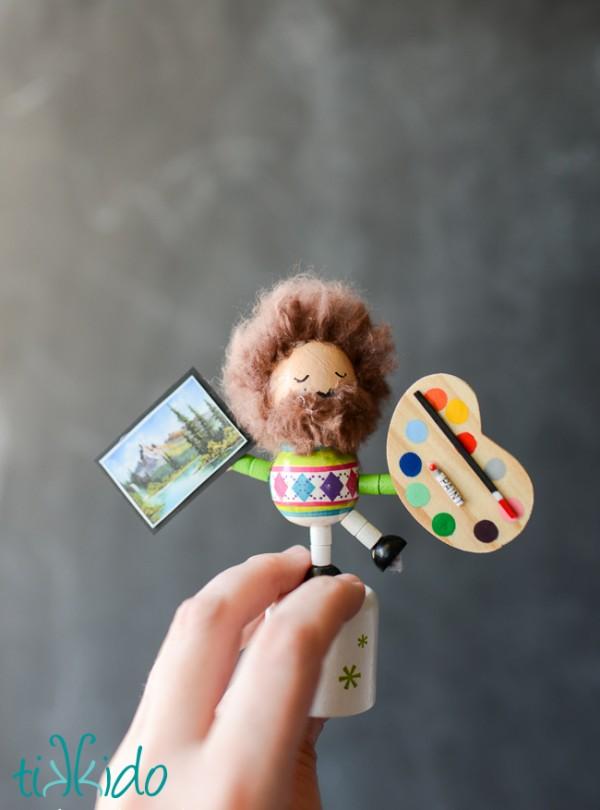 How to make a Bob Ross mini doll