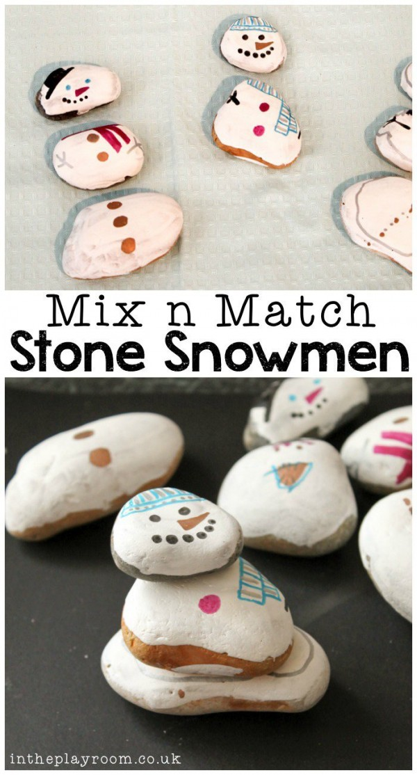 How to make mix n match rock painted snowmen - Recycled Crafts