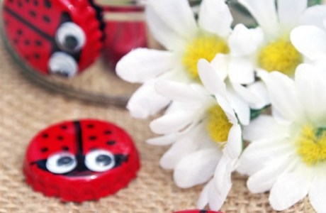 Recycled bottle cap lady bug magnets