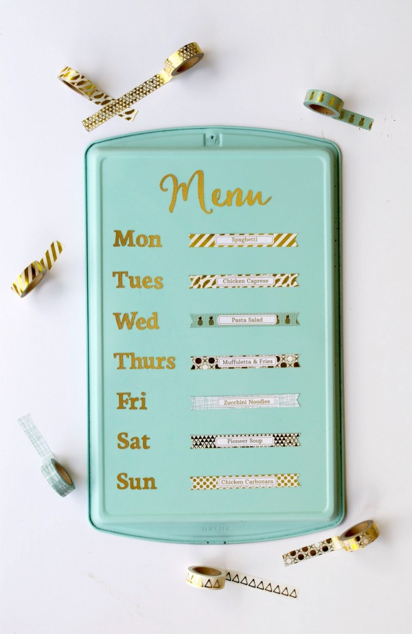 Recycled cookie sheet magnetic menu board – Recycled Crafts Creative Family Tree Ideas For Project