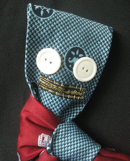 Recycled necktie monster plushy great for Halloween