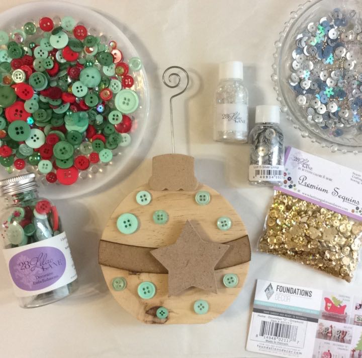 Button and sequin ornament Christmas decoration