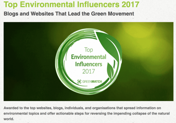 Proud to be a part of the Top Environmental Influencers 2017