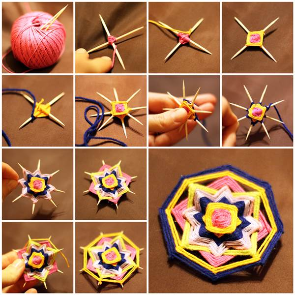 Make a tiny tooth pick mandala