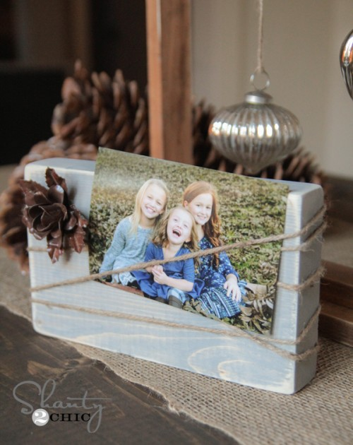Recycled wood block photo display