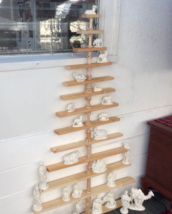 Spool, tinker toy and wood slat Christmas tree
