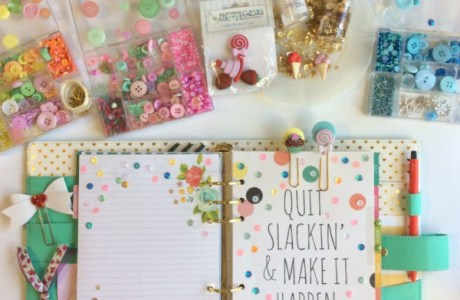 How to embellish planner pages with sequins and button clips