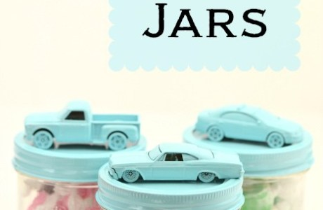 Toy cars on jars for Father's Day