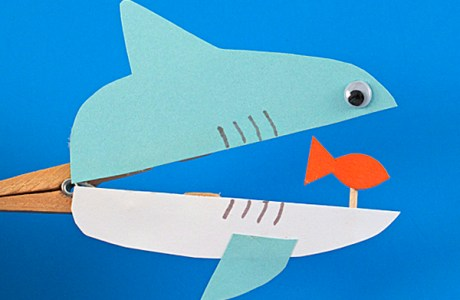 How to make a clothes pin shark for Shark Week