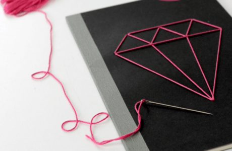 Upcycle your back to school notebook with diamond stitching