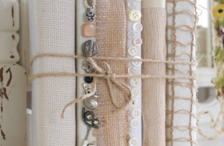 Give books a new look with textiles and buttons