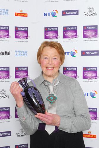 Sylvia with her 'Iris' Award.