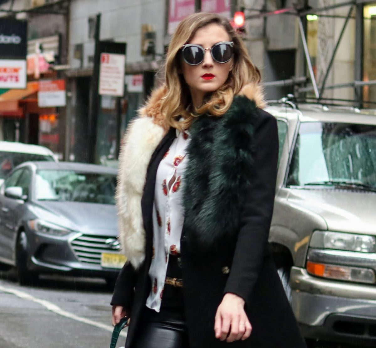 NYFW Style: Royal Red Crests & Faux Leather