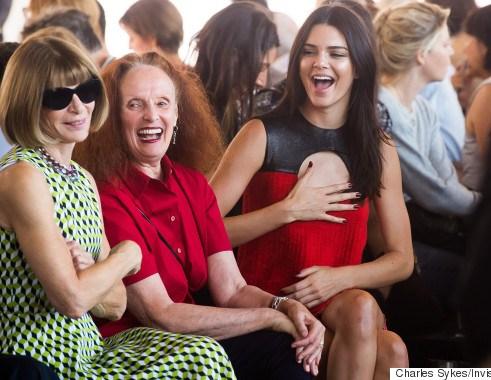 Anna Wintour, Grace Coddington e Kendall Jenner na Semana de Moda em Londres