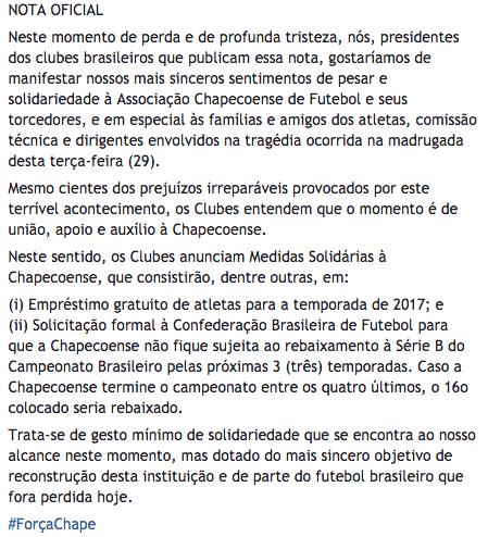 Nota divulgado pelos clubes nacionais em apoio a Chapecoense