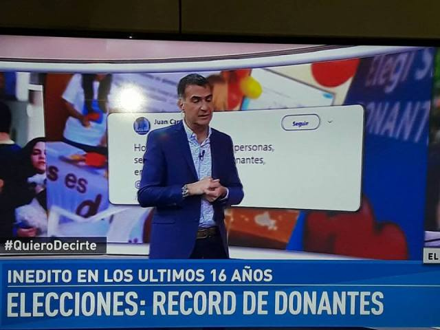 Antonio Laje informa sobre la campaña en TV. Foto: MultiplicateX7