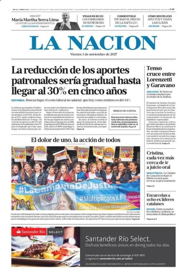 La campaña por Justina salió en la portada del diario La Nación el 3 de noviembre de 2017.