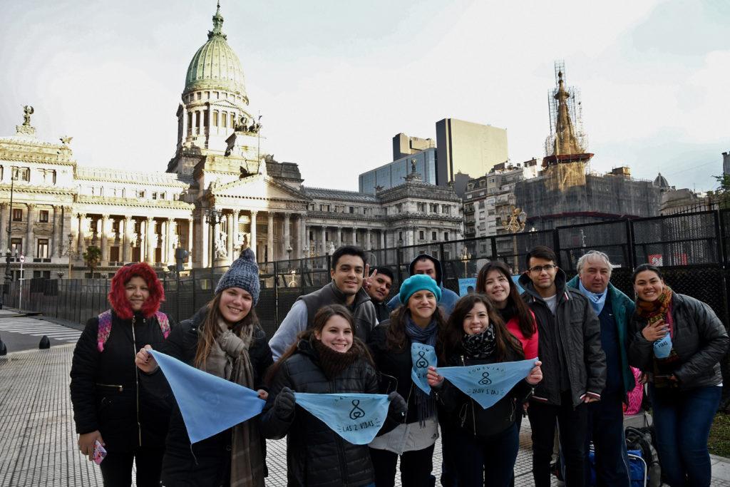 En contra del aborto en la plaza del Congreso, el miércoles 13 de junio.   Foto: Gustavo Amarelle - Télam