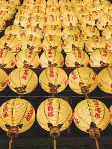 yellow lanterns at longshan temple taipei taiwan