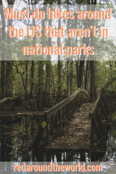 While hiking in the national parks is awesome, there are so many awesome hikes in the US that aren't in the parks. These are some of the best hikes in the US that aren't in national parks from Utah all the way to Florida. #hiking #utah #florida #travel #roadtrip #usaroadtrip #hikesintheus #usa