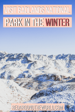 Visiting Badlands National Park in the winter is an entirely different experience than a summer visit. The snow covers the badlands in the winter.