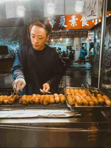 Taiwanese sausage Night markets in Taipei Taiwan
