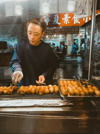 Taiwanese sausage Night markets in Taipei Taiwan