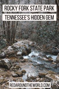 Rocky Fork State Park in Tennessee is a hidden gem. Its the perfect day trip from Asheville just over the border in Tennessee. Hike along the creek year-round. Rocky fork is an awesome state park in Tennessee and an awesome place to hike in Tennessee.