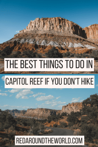 These are the best things to do at Capitol Reef National Park that aren't hiking. Pick fruit in the Capitol Reef Orchards and look at petroglyphs on the drive. Capitol Reef in Utah has tons to see that doesn't involve hiking.