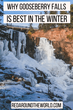 Get outside in Duluth, Minnesota and take a day trip to Gooseberry Falls in the winter. Go snowshoeing, cross-country skiing, or snowmobiling in the park. This is one of the coolest state parks in Minnesota. You can hike and see three waterfalls.