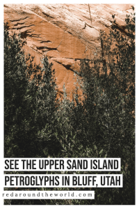 The Upper Sand Island Petroglyphs are one of the best things to do in Bluff, Utah. It's easy to get to and has tons of style of petroglyphs. petroglyphs in utah | Utah road trip | hiking in Utah | best things to do in Utah | Utah hikes | Utah road trip itinerary | utah rock art | rock art in Utah | easy hikes in utah | Utah vacation | Utah travel | Utah things to do | petroglyphs #usa #utah #roadtrip