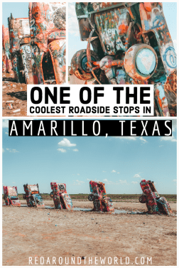 Cadillac Ranch is a Cadillac Graveyard in Amarillo Texas. It's an interactive roadside art exhibit that is a must-see on any USA road trip. Texas road trip | texas things to do | texas vacation | amarillo texas things to do | amarillo texas | cadillac ranch texas | cadillac ranch route 66 | cadillac graveyard | buried cadillacs